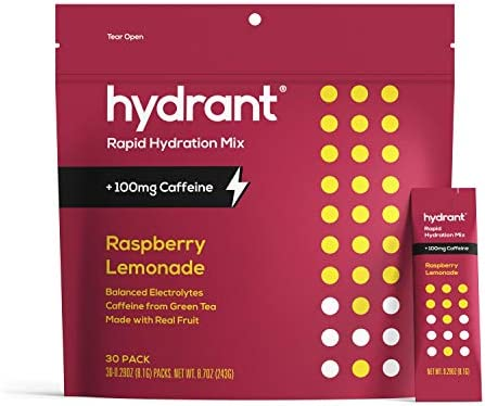Hydrant ENERGY Raspberry Lemonade Flavor 30 Pack Hydration Powder Packets for Energy Boost Immunity product image