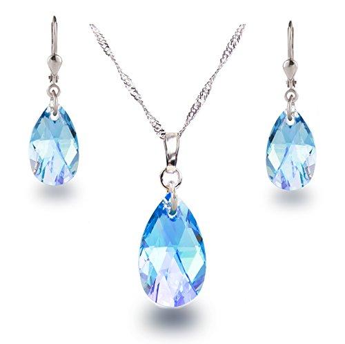 Juego de collar y pendientes de Schöner SD, en plata de ley 925bañada en rodio con cristales Swarovski® de color azul aguamarina en forma de lágrima