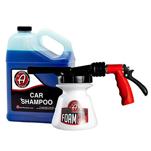 Adam's Standard Foam Gun & Car Shampoo - Car Wash & Car Cleaning Auto Detailing Kit | Soap Shampoo & Garden Hose for Thick Suds | No Pressure Washer Required | Car Wax Tool Supplies