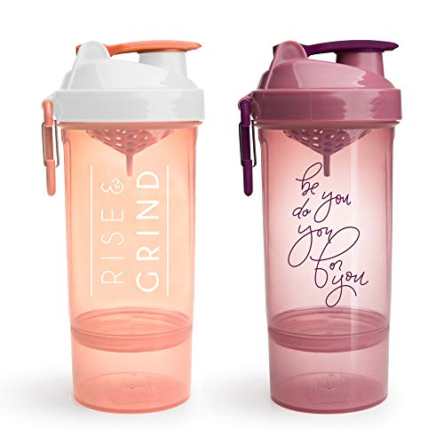 Smartshake Shaker Bottle with Motivational Quotes, Original2Go ONE 27 ounce Protein Shaker Cup, Container Storage for Protein or Supplements (Two Pack - Rise & Grind + Be You Do You)