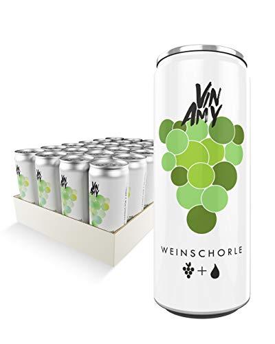 VINAMY Weißweinschorle (24x250ml Dose) - Trocken - 60% Spanische Weißwein-Cuvée und 40% Wasser - Natürliche Alternative zu Prosecco Dosen oder Sekt Dosen - Weinschorle Weiß Feinherb - EINWEG