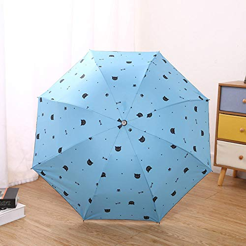 Bronce Falls Umbrella Sombreado Ultravioleta Canasta Plegable Embusto Paraguas Dos Gel Negro Sunscrates Tres Paraguas de Restaurante-Azul Gato_58