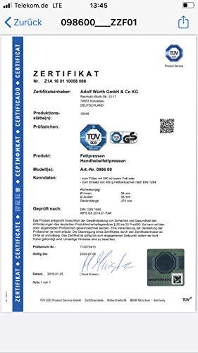 Wurth 98600 INGRASSATORE A Leva P/CARTUCCE 400GR