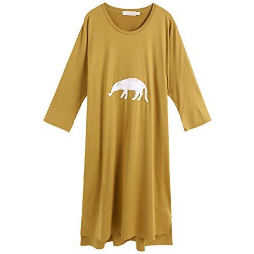 BINGQZ Cocktail Jurken Gele jurk vrouwen vroege lente lange high-end temperament losse dunne grote ronde hals rok