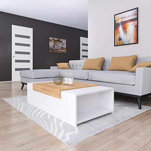 GLmeble - Couchtisch für das Wohnzimmer, Hochwertiges, Modernes Design Couchtische für die Einrichtung von Heimbüros (Gold - Weiß, Typ 1)