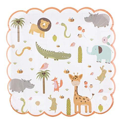 Papieren Platen Wegwerp Platen Party Platen Platen Bekers Bowls Vorken Diner Camping Eco Eenmalige Cartoon Milieuvriendelijk Papier Lade Verjaardag Party Cake Leuke Schaal 23 Cm
