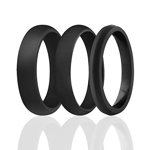 ROQ Silicone Rings for Women - Thin Womens Silicone Rubber Wedding Rings Bands - The 3 Angels Collection - 5.5mm (Dome Style), 4mm (Dome Style) and 2mm (Paved Knife Style) Wide - Size 7