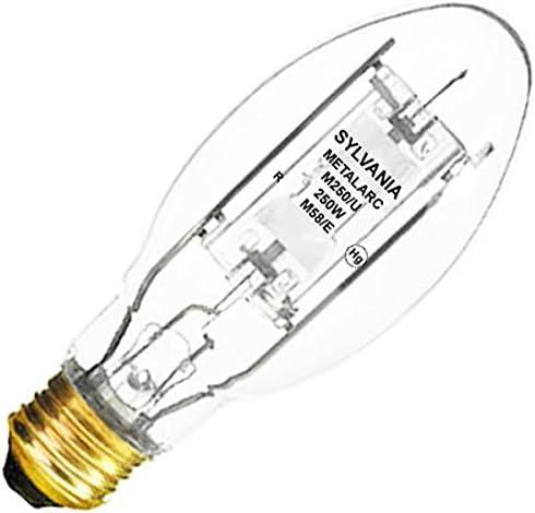 (6-Pack) Sylvania 64032 M250UED28 250W METALARC quartz metal halide lamp, E39 base, ED28 bulb, enclosed fixture rated...