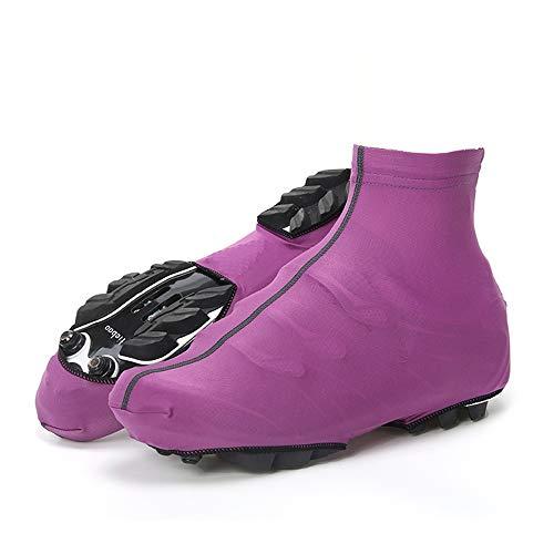 Huangjiahao Couvre-Chaussures de Cyclisme Chaussures de Cyclisme Coupe-Vent imperméable Matériel de Conduite en Plein air étanche à la poussière Protecteur de vélo (Couleur : Violet, Taille : L)