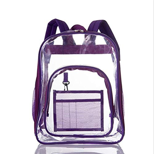LMSHA Mochila escolar transparente para estudiantes, gruesa, de PVC, impermeable, con cremallera, para vacaciones escolares, color morado