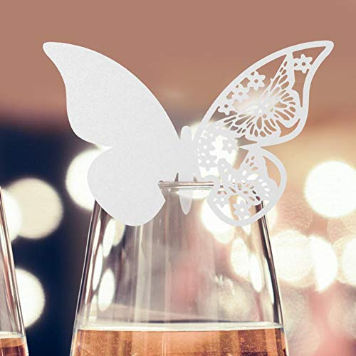 AUNMAS 20pcs Butterfly Shape Cards Wedding Hollow-Out Design Shimmer Cut Name Place Cards for Wine Glass Party Table Tags DIY Decorative Card Ornament (1#)