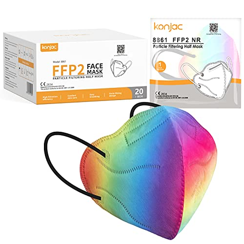 konjac FFP2 Maske Masken Mundschutz 20 stück, Einwegmasken 5-lagig Atemschutzmaske Einweg Gesichtsmaske FFP2 Masken Staubschutzmasken für Erwachsene Einmalmasken Mund und Nasenschutz(Farbverlauf)