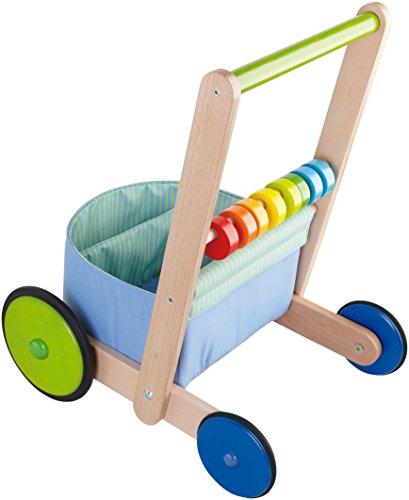 HABA 6432 – Lauflernwagen Farbenspaß, Lauflernhilfe aus Holz und Textil mit bunten Spielelementen, Transportfach für Spielsachen, Bremse und Gummirädern, ab 10 Monaten - 2