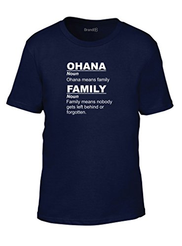 Ohana Means Family, Camiseta de los niños de la moda, Azul Barino/Blanco, 5-6 años