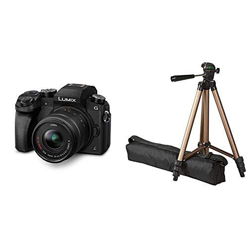 Panasonic LUMIX G DMC-G70KAEGK Systemkamera (16 Megapixel, OLED-Sucher, 7,5 cm OLED Touchscreen) mit Objektiv H-FS14042E schwarz & AmazonBasics 127cm (50