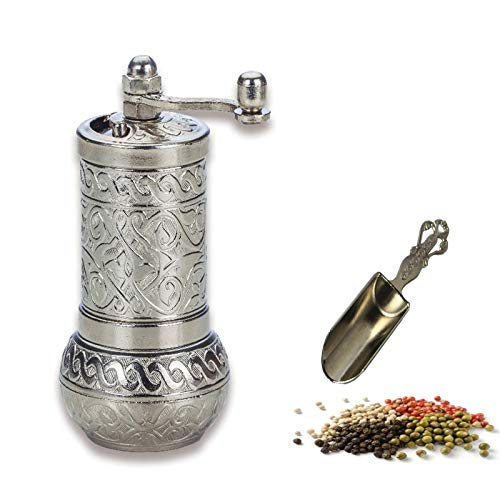 MoonShield Pepper & Salt Grinder - Turkish Coffee Mill - Mini Antique Look Spice Shovel - Salt Shaker - Zinc Alloy Casting Best Carving Metal - Adjustable Coarseness (Silver)