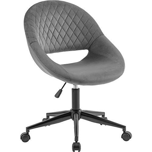 ModernLuxe Bürostuhl aus grauem Samt, ohne Armlehnen, ergonomischer Computerstuhl, Schreibtischstuhl, ohne Armlehnen, Stoffdrehstuhl, Heimbüro, Schlafzimmer, höhenverstellbar