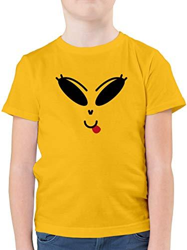 Shirtracer Halloween Kind - Lustiges Alien Kostüm - schwarz - 104 (3/4 Jahre) - Gelb F130K - Kinder Tshirts und T-Shirt für Jungen