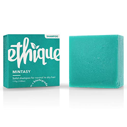 Ethique Shampoo Bar for Normal to Dry Hair, Mintasy - Sustainable Natural Hydrating Damaged Hair Shampoo, Plastic Free, pH Balanced, Vegan, Plant Based, Eco-Friendly Compostable & Zero Waste, 3.88oz