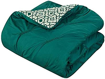 Chic Home CS1939-AN 10 Piece Sabrina Pinch Pleated, Ruffled and Pleated Printed Reversible Complete Bed In A Bag Comforter Set with Sheet Set, King, Dark Green