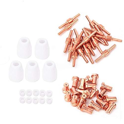 Consumibles de plasma PT31, boquilla de electrodo de cortador de plasma de 55 piezas PT31 Kit de anillo de gas de copa de escudo de antorcha