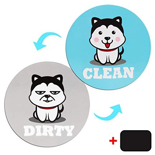 Geschirrspüler Magnet Clean Dirty 8.8cm Doppelseitig Geschirrspüler Magnet Schild Süßes Hunde-Magnetschild Wasserdicht Magnet Wendeanzeige Zeichen mit Universal-Magnetplatte für alle Geschirrspüler