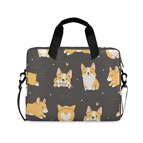 ZZCDD Kawaii Playful Corgi Dogs Laptop Shoulder Bag 15.6 Inch Durable Messenger Laptop Case Sleeve Bag Tablet Carrying Case Briefcase for Men Women
