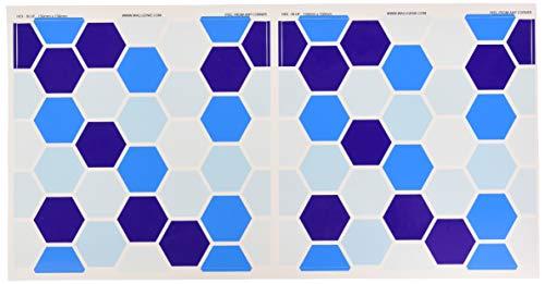 Muurgenie Tegel Stickers x30 Pack, Zelfklevend vinyl, 150mm x 150mm, HEX BLAUW