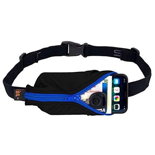 "SPIbelt Running Belt Large Pocket, No-Bounce Waist Bag for Runners, iPhone 6 7 8-Plus X Athletes and Adventurers (Black with Blue Zipper, 25"" Through 47"")"