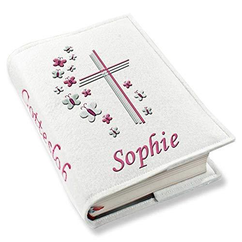 Gotteslob Gotteslobhülle Kreuz Schmetterlinge pink rosa Kunstleder mit Namen bestickt weiß Mädchen, Farbe:weiß