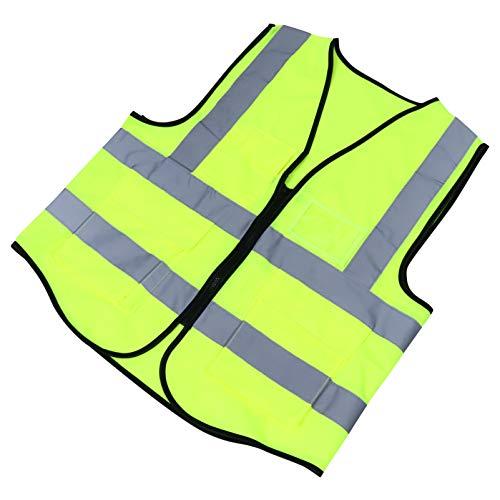 BESPORTBLE Chaleco Reflectante de Seguridad con Bolsillo Chaleco Transpirable de Alta Visibilidad Chaleco de Construcción con Cremallera Ropa de Trabajo para Correr de Noche Trotar Ciclismo