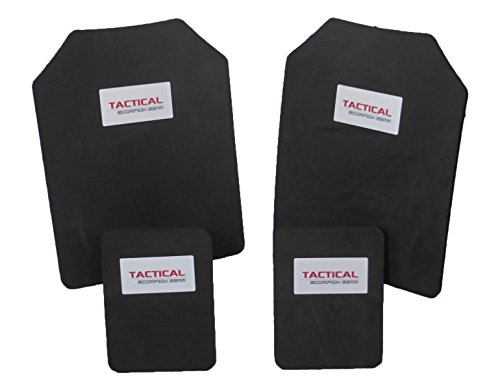 Tactical Scorpion Gear 10mm Paintball Airsoft 11x14+6x8 Shooter's Cut Protective Trauma Vest Trauma Pad Plates