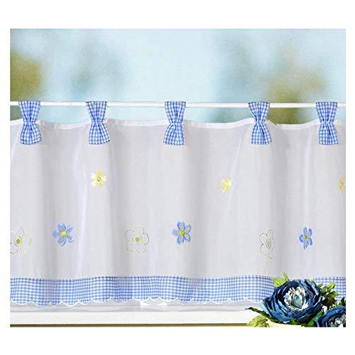 heimtexland Gardine Country Chic Scheibengardine FRÜHLING Vichy-Karo blau Schlaufen-Bistro Landhaus mit Blumen Bestickt HxB 45x150 cm - sehr schöner Fall…auspacken, aufhängen, fertig! Typ78 (blau)