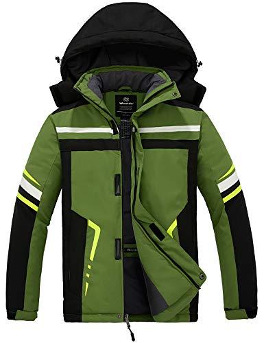 Wantdo Men's Mountain Ski Jacket Outdoor Snowboarding Jackets Short Parka Anorak Outwear Green Lage