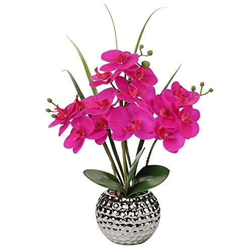 Briful Flores artificiales para orquídeas de seda Phalaenopsis en maceta de cerámica plateada para boda, comedor, mesa de centro de mesa, decoración del hogar, flor falsa de color morado realista