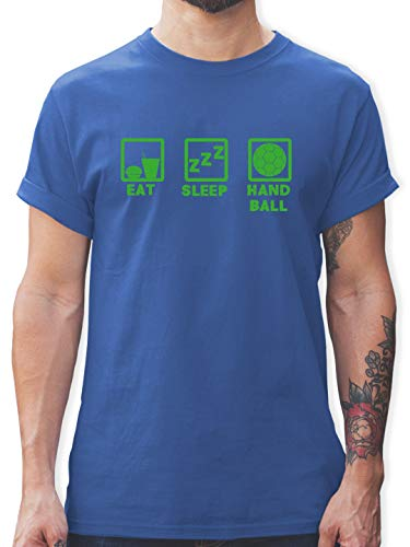 Handball - Eat Sleep Handball grün - L - Royalblau - Spruch - L190 - Tshirt Herren und Männer T-Shirts
