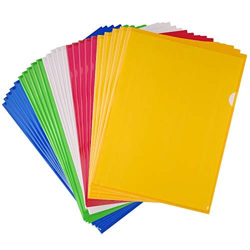 FEPITO 25 Pack A4 Cut Flush Folders Carpetas de plástico para carpetas de documentos Assorted Colors