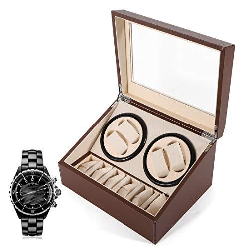 Fetcoi Caja giratoria automática para relojes de 4 + 6 relojes. Caja de madera y piel para relojes automáticos.