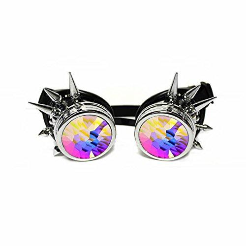 GloFX Chrome Spike Steampunk Dieselpunk Rave Kaleidoscope Goggles