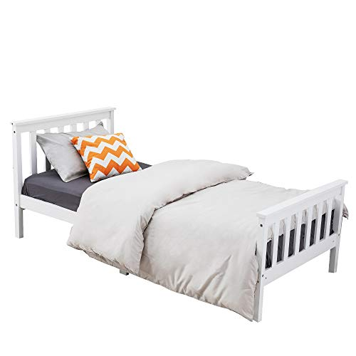DREAMO Bedroom Single Bed Solid Wooden Bed Frame for Kids, Teenagers Furniture 3FT White