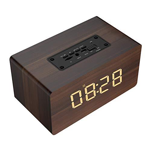 Subwoofer de madera, con altavoz bluetooth, supergraves, música de alta fidelidad sin pérdidas, radio FM, sistema de alimentación dual, subwoofer estéreo de larga duración, reloj musical(marrón)