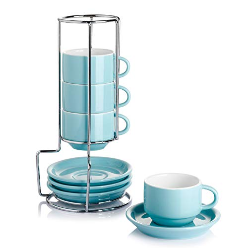 Sweese 405.402 Porcelain Stackable Espresso Cups with Saucers and Metal Stand - 4 Ounce - Set of 4,Turquoise