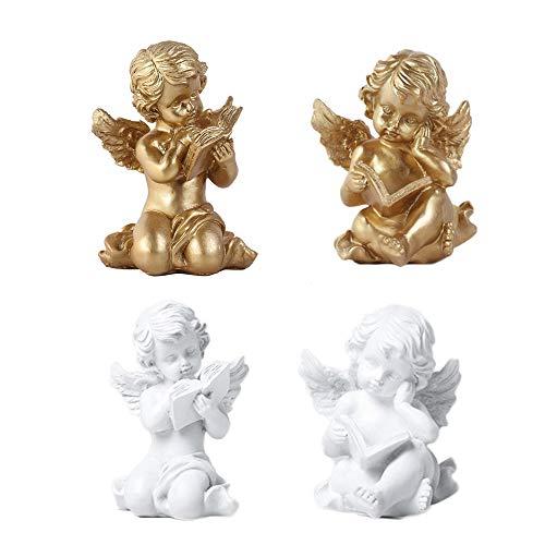 MMJJQWE 2 Piezas adorables Figuras de querubines de ángel, estatuas de ángeles de Resina estatuilla Ángel de la Guarda, para Adornos Decorativos para el hogar, Regalos inspiradores artísticos
