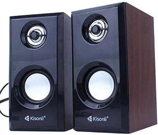 Kisonli Wooden T-001 Mini Computer Speaker with USB Power Supplier