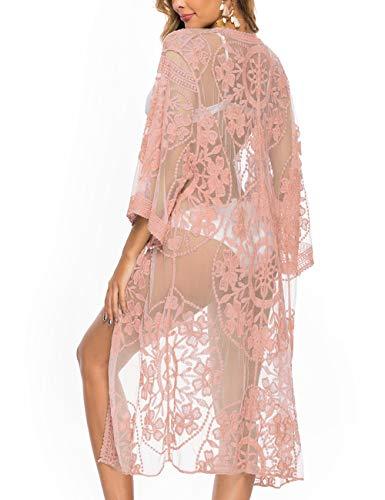 iWoo - Cárdigan kimono sexi para mujer, largo, para proteger del sol en la playa, de encaje floral estilo crochet para cubrirse en la playa. Rosa B-rosa Talla única