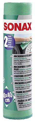 SONAX MicrofaserTücher PLUS Innen & Scheibe (2 Stück) extrem fein ohne Streifen, Schlieren und Fusseln zu hinterlassen   Art-Nr. 04165410