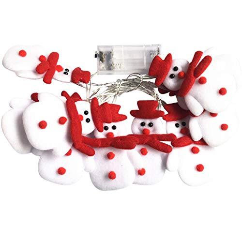 HWTOP LED Weihnachten Schneemann Lichtschnur Strings Weihnachtsbaum Weihnachtsfeier Dekoration Laterne Anhänger - Weihnachten Schneemann 1,65 Meter 10 Leuchten-USB