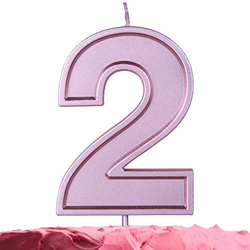 GET FRESH Number 2 Birthday Candle – Extra Large Rose Gold Number Two Candle on Stick – 10 cm Pink Number Candles for Birthday Wedding Anniversary – Two Bday Cake Candle – Large Pink 2 Candle