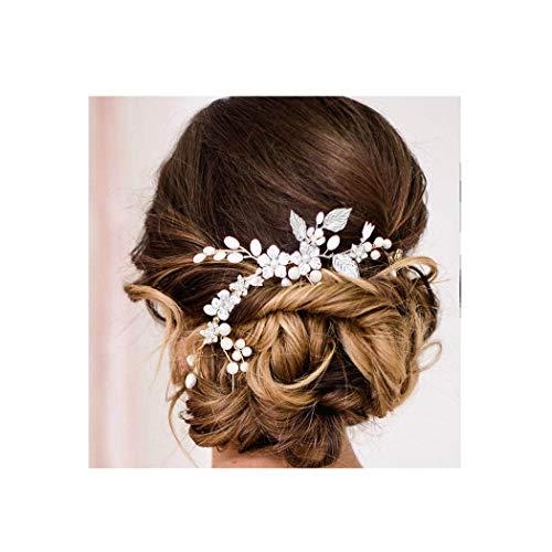 IYOU Brautschmuck Hochzeit Haar Reben Silber Perle Braut Kopfschmuck Blume Stirnband Blätter Haarschmuck für Frauen und Mädchen