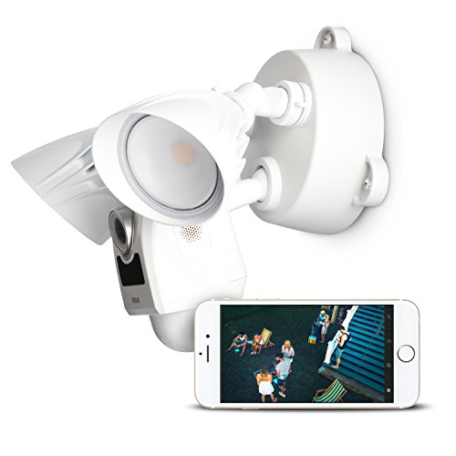 Security Camera - RCA Flood Light Camera for Live Home Security Monitoring - Motion Sensor Activated, WiFi Camera with HD Live Streaming, Siren Alarm and Two Way Audio for Backyard or Outdoor Use